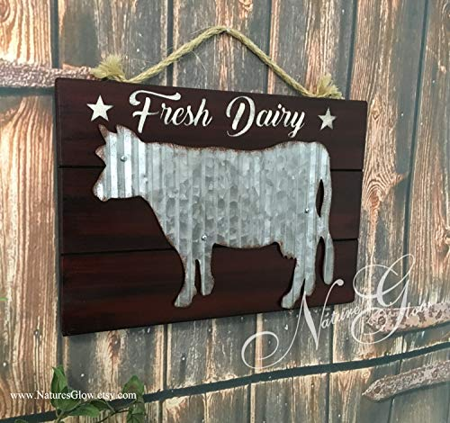 MaxwellYule Farmhouse Cow Sign Rustic Fresh Dairy Country Kitchen and Dining Decor Barn Animals Corrugated Cow Gift for Farmer
