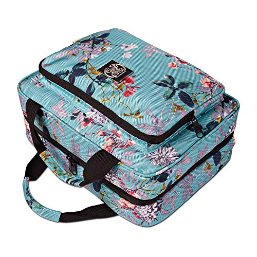 Large Hanging Travel Cosmetic Bag For Women - Travel Toiletry And Cosmetic Makeup Bag With Many Pockets (Turquoise flowers)