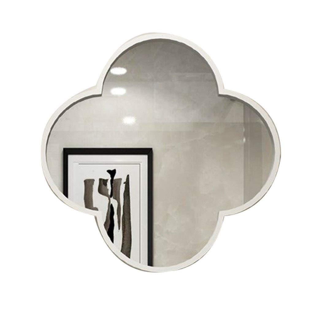 Beauty mirror Large Wall Mirror Irregular Metal Framed Wall Mounted Mirror- Bathroom Living Room Dressing Table Barbershop Decorative Mirror Dressing mirror (Color : White, Size : 40cm) by Makeup Mirrors