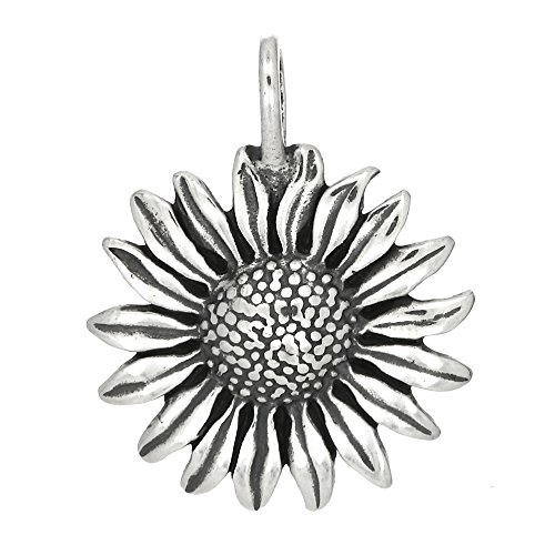 Sterling Silver Oxidized One Sided Full Blown Sunflower Charm Pendant ()