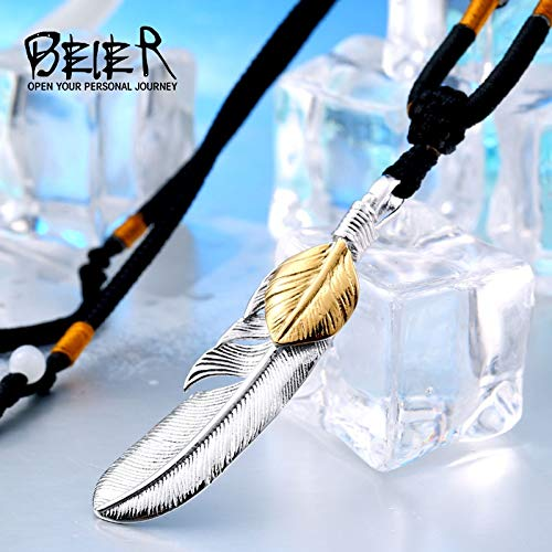 Davitu 316L Stainless Steel Pendant Necklace exqusite Feather Pendant for Gift Jewelry LLBP8-187R Metal Color: BP8-154silver