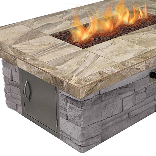 Cal Flame FPT-RT501M-NS Cultured Stone Dining Height Gas Fire Pit in Brown with Log Set and Lava Rocks