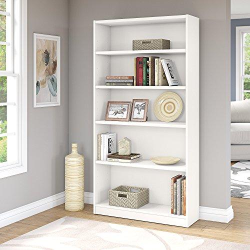 Bush Furniture Universal 5 Shelf Bookcase in Pure White