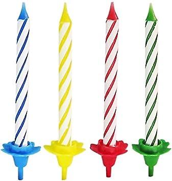 Geburtstagskerzen mit Halter Kerze Kerzen Kindergeburtstag Geburtstag 24 Stück