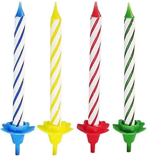 Geburtstagskerzen f/ür den Kindergeburtstag 12 Kerzenhalter Menge: 24 Kerzen Kuchenkerzen Farbe: Rot, Blau, Gelb, Gr/ün Kerzenhalter Fackelmann Kerzen