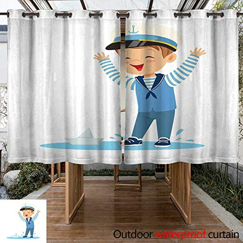 RenteriaDecor Outdoor Curtains for Patio Sheer Cute Smiling Little boy Character Wearing a Sailors Costume Standing in a Puddle Playing with Paper Boat Colorful Vector W108 x -