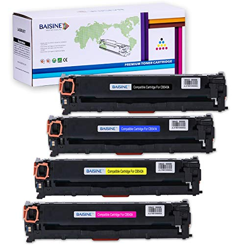 CP1215 Toner Replacement for HP 125A CB540A, BAISINE 4-Pack (CB540A Black, CB541A Cyan, CB542A Yellow, CB543A Magenta), Used in HP CP1518ni CP1215 CM1312nfi CP1515n CM1312 MFP Printer ()