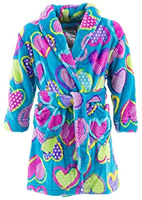 Komar Kids Little Girls' Teal Hearts Fleece Bathrobe