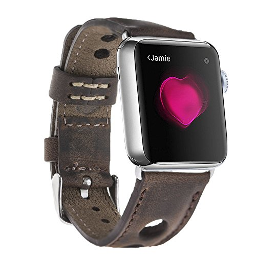 Apple Watch Band, Burkley Case Unique Holo Strap, Luxury Premium Genuine Leather Padded Watch Band, Strap Replacement for Apple Watch Series 1 & 2 with Connectors (Antique Coffee)