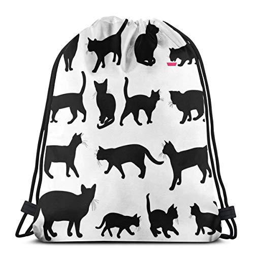 Unisex Drawstring Bag Gym Bags Storage Backpack,Black Cat Silhouettes In Different Poses Domestic Pets Kitty Paws Tail And Whiskers (Best Senior Portraits Poses)