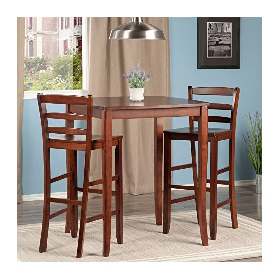 Winsome Inglewood High/Pub Dining Table with Ladder Back Stool, 3-Piece - Inglewood curved top high table with cariole legs stands at 33.86-inchw by 33.86-inchd by 38.90-inchh Comes with #94249 - 2 ladder back stools with each overall size of 16.58-inch by 19.35-inch by 42.46-inchh. seat height is 30-inchh Assembly required - kitchen-dining-room-furniture, kitchen-dining-room, kitchen-dining-room-tables - 51d%2BLIveLUL. SS570  -