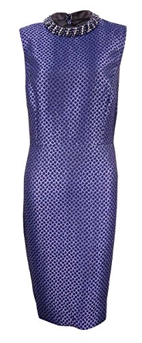 Embellished Sheath (Ivanka Trump Women's Embellished Mock Neck Jacquard Sheath Dress (10, Navy))
