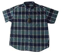 DIRU Shirt Casual Short Sleeve Plain Blue Size 5XB