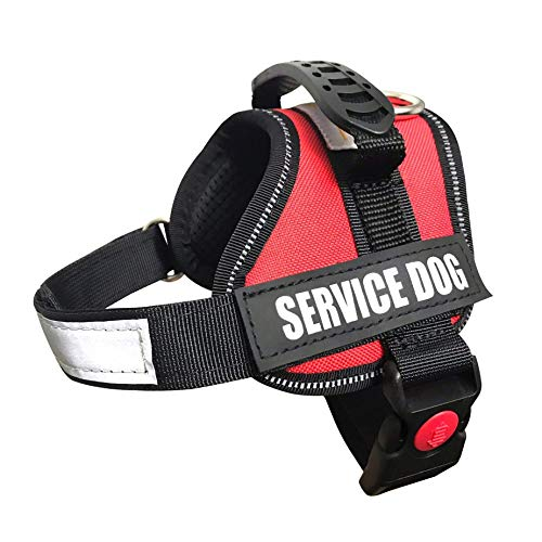 (ALBCORP Service Dog Vest Harness - Reflective - Woven Polyester & Nylon,Comfy Mesh Padding, XXS, RED)
