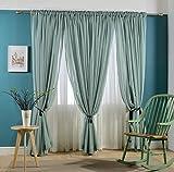 Light Teal Sheer Curtain Custom Window Door Drapery(Rod pocket top)