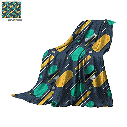 Geometric Digital Printing Blanket Teenage Pattern with Lines and Circles Bold Colorful Shapes Retro Modern Style Oversized Travel Throw Cover Blanket 50
