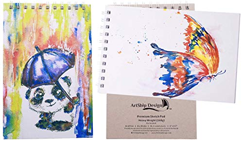 2 Pack Sketchbook Premium Hardcover Heavyweight (160g) Spiral Bound Gift Collectable (8.5x6 Panda and Butterfly)