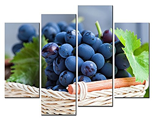 Purple Grapes Picnic Baskets (Forever With Me 4 Piece Wall Art Painting A Basket Of Fresh Purple Grapes Pictures Prints On Canvas Picture - For Home Modern Decor Or As)