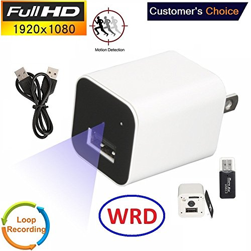 (WRD Hidden Spy Camera 1080P HD USB Wall Charger (WHITE 2018) Spy Camera Adapter for Home, Office, Business)