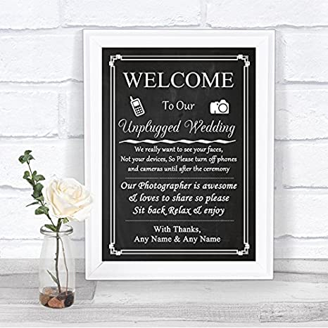 Chalkboard Style Pink Roses Collection Chalkboard Style Pink Roses No Phone Camera Unplugged Wedding Sign