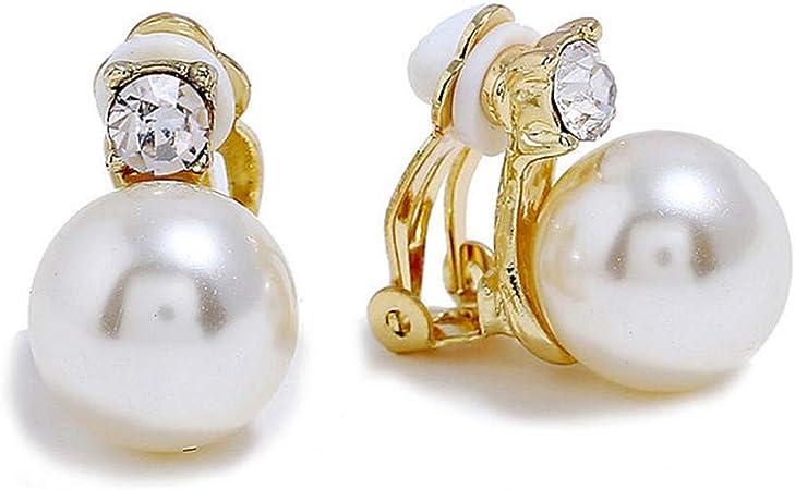 Yoursfs Blanc Perle de culture Boucles doreilles Clip Femme oreilles non perc/ées Exquis Cadeau danniversaire