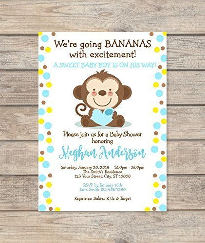 Mod Monkey Blue Shower Invitation, Custom Blue Dots Baby Monkey Safari Invite, Mod Monkey Boy Baby Shower Invitation