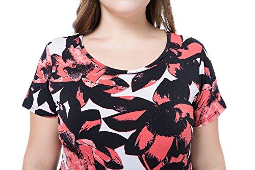 Chicwe Vestidos Tallas grandes Mujeres Manga Corta Cuello Redondo Estampado EU44-58 Rojo