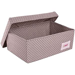 Minene - Caja de almacenaje pequeña con tapa, diseño de lunares, color gris y blanco