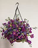 artificial flowers for outdoors - Lopkey Artificial Daisy Flowers Outdoor Indoor Patio Lawn Garden Hanging Basket with Chain Flowerpot,8 Inch