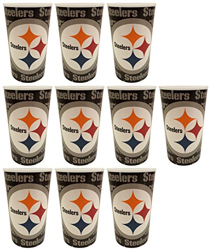 Set of 10 Football 20oz Cups - BPA Free - Dishwasher Safe - Made in USA- Represent Your Team in Style with These Top Quality Cups! (10, Pittsburgh)]()