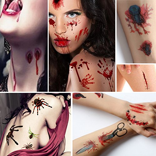Zombie Makeup Walking Dead (Temporary Tattoos 10 Sheets Bloody Wound Scars Scab Spiders Pumpkin Waterproof Stickers for Cosplay)