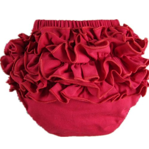Buenos Ninos Girl's Cotton Shorts Top Baby Bloomer Diaper Covers Various Colors Red XL