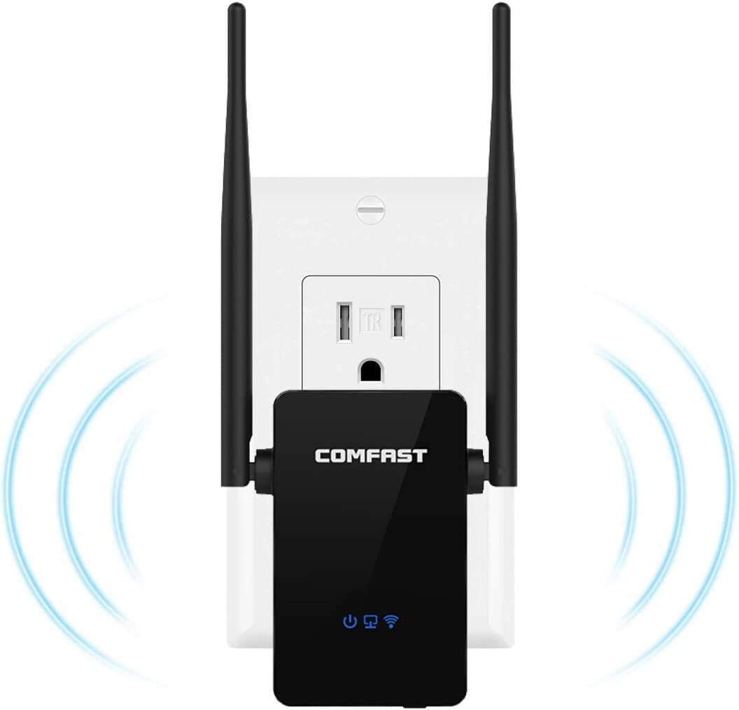 【Upgraded Version】 High Speed Wireless WiFi Range Extender Up to 300 Mbps WiFi Signal Booster with Dual Bands with WPS Repeater Ideal for Home Office Gaming & HD Video Streaming Works with (Black)