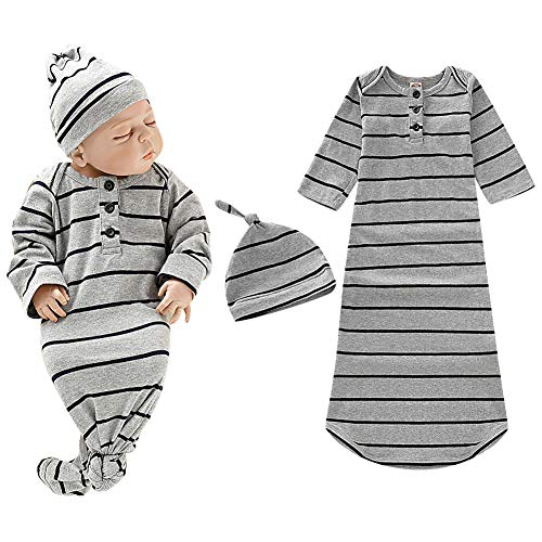 Baby Gown Newborn Cotton Long Sleeve Stripe with Button Unisex Sleeping Bag Baby Boy Girl Blanket Sleeper Coming Home Outfit Gray with Hat for Baby Boy Girls 0-3months