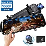 Directtyteam Mirror Dash Cam Backup Camera,1080P HD 9.88' Full Touch Screen Car Rear View Mirror Camera Dual Lens Front Rear Dashcam Video Recorder Parking Monitor,Night Vision Waterproof Rearview