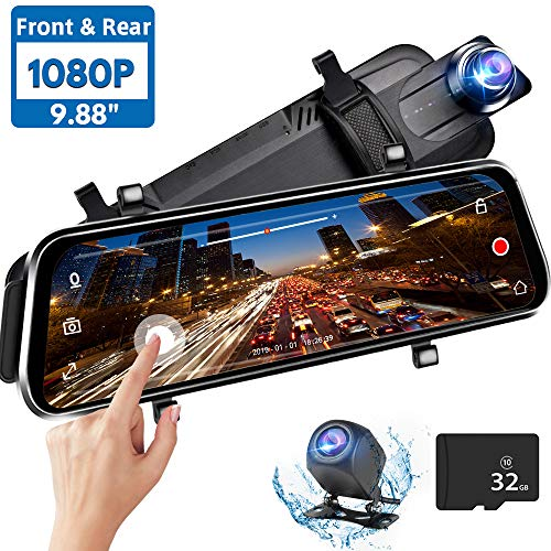 Directtyteam Mirror Dash Cam Backup Camera,1080P HD 9.88″ Full Touch Screen Car Rear View Mirror Camera Dual Lens Front Rear Dashcam Video Recorder Parking Monitor,Night Vision Waterproof Rearview