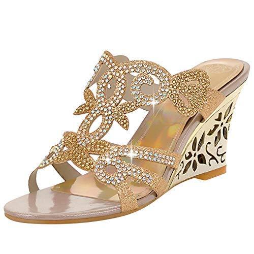 Charm Foot Fashion Rhinestone Womens Wedge Heel Open Toe Sandals Slippers (7.5, Gold)
