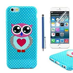 Mini - Mr Owl Pattern TPU Soft Case with Protective Film and Stylus for iPhone 6