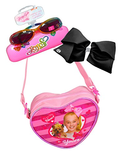 JoJo Siwa Ultimate Fashion Set- Heart Shaped Handbag Purse, Sunglass and Signature Black Rhinestone Hair Bow Black Glass Beaded Purse
