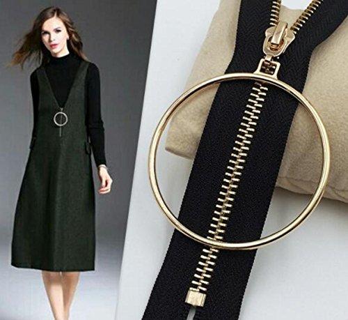 WellieSTR 3pcs (gold color) 5# metal zipper head big ring zipper pull slider for Leather clothing bag and garment zipper DIY craft (Ring Zipper Pull)