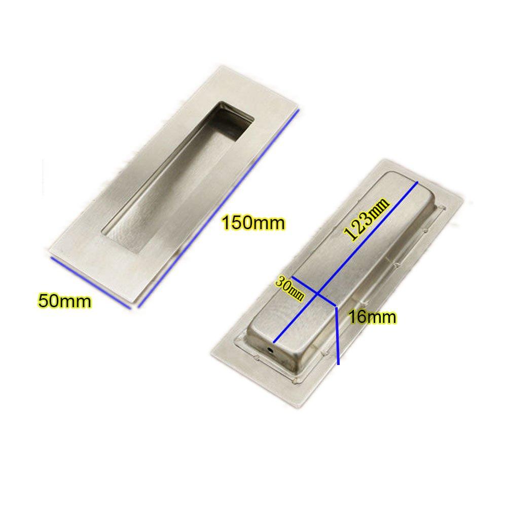 Funsmore FlushPull Handle 6 inch Rectangular Flush Recessed Sliding Door Pull Handles for Barn Door Hardware 2 Pack Silver by Funsmore (Image #3)