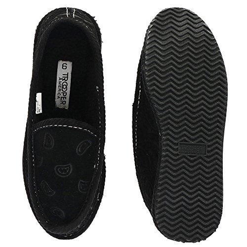 Trooper America Men's Black on Black Paisley Bandana Print House Shoe Slippers by Trooper America (Image #3)