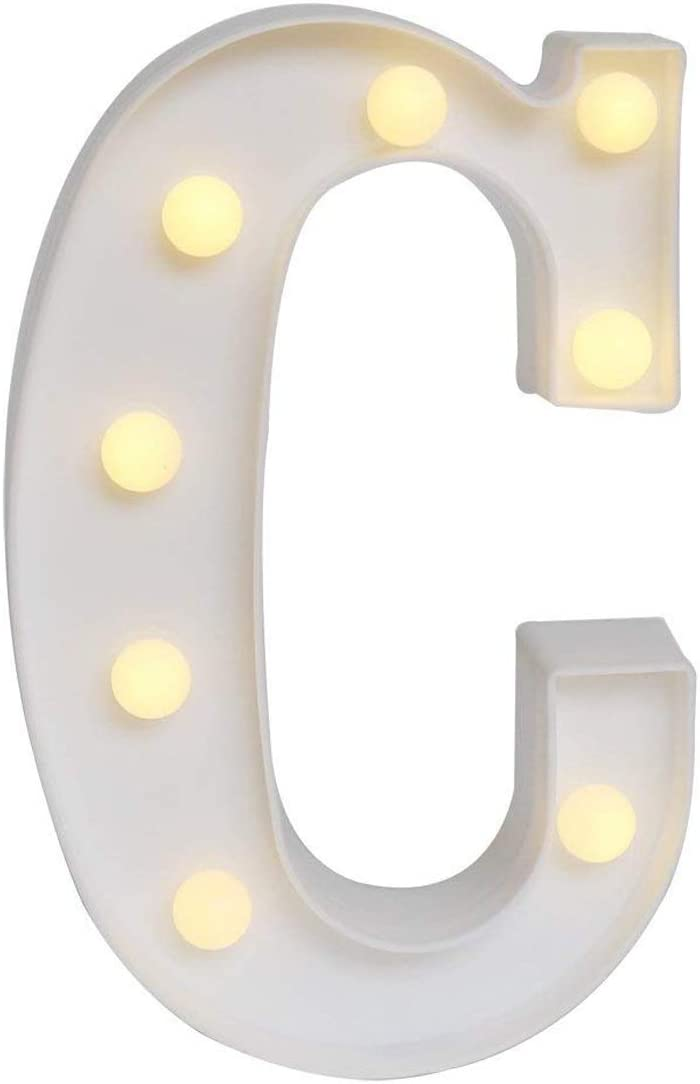 Sunnyglade White Marquee LED Alphabet Lights Arabic Numerals Lights for Party Home Bar Wedding Decor, Alphabet Wall Decoration Letter Lights (C)
