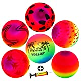 9'' Playground Rainbow Ball With 1pcs Pump (6 pack),FunsLane Inflatable Dodge Ball Sport Balls Rubber Play Ball Handball for Kids Outdoor & Backyard Games, School & Gym Class