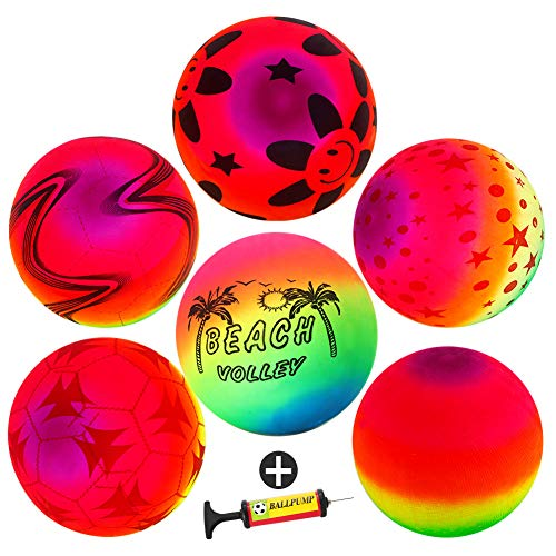 9'' Playground Rainbow Ball With 1pcs Pump (6 pack),FunsLane Inflatable Dodge Ball Sport Balls Rubber Play Ball Handball for Kids Outdoor & Backyard Games, School & Gym Class by FunsLane