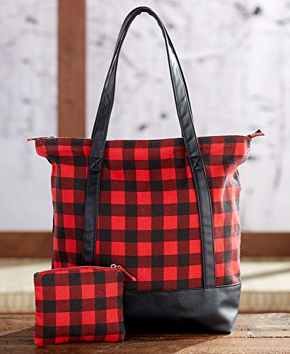 2-Pc. Monogram Buffalo Plaid Tote Set Plain