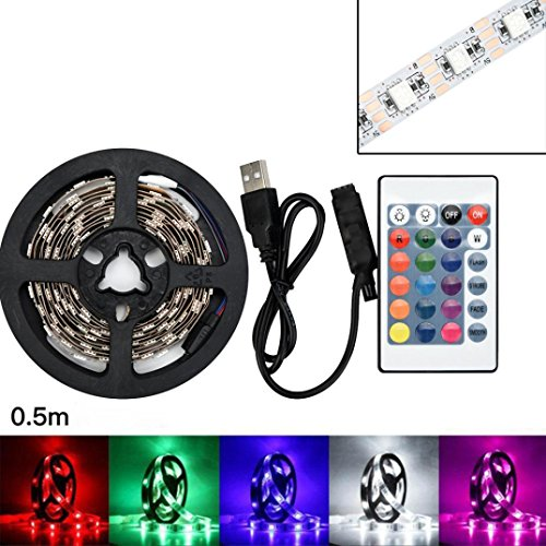 Price comparison product image 5050 RGB color changing light with non-waterproof + controller 50-200CM USB LED strip TV backlight, hallway bedroom chandelier restaurant modern bar (50CM Not waterproof)