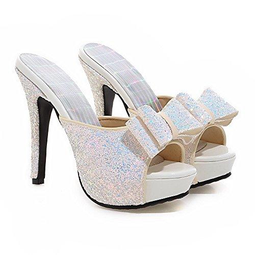 Weipoot Womens Pull On Peep Toe Picchi Stiletti Mescolano Materiali Assortiti Pantofole Di Colore Bianco