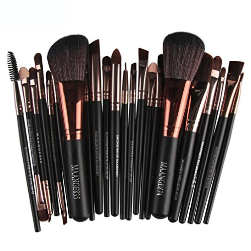 Han Shi Brushes, Fashion 22pcs Cosmetic Makeup Brush blusher Eye Shadow Lip Brushes Set Kit (M, Black)