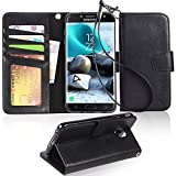 Samsung Galaxy J7 2018 case, Galaxy J7 Aero/J7 Aura/J7 Top/J7 Refine/J7 Eon/J7 Star Case, Arae [Stand Feature] PU leather wallet case with wrist strap and [4-slots] ID&Credit Cards Pocket - BLACK